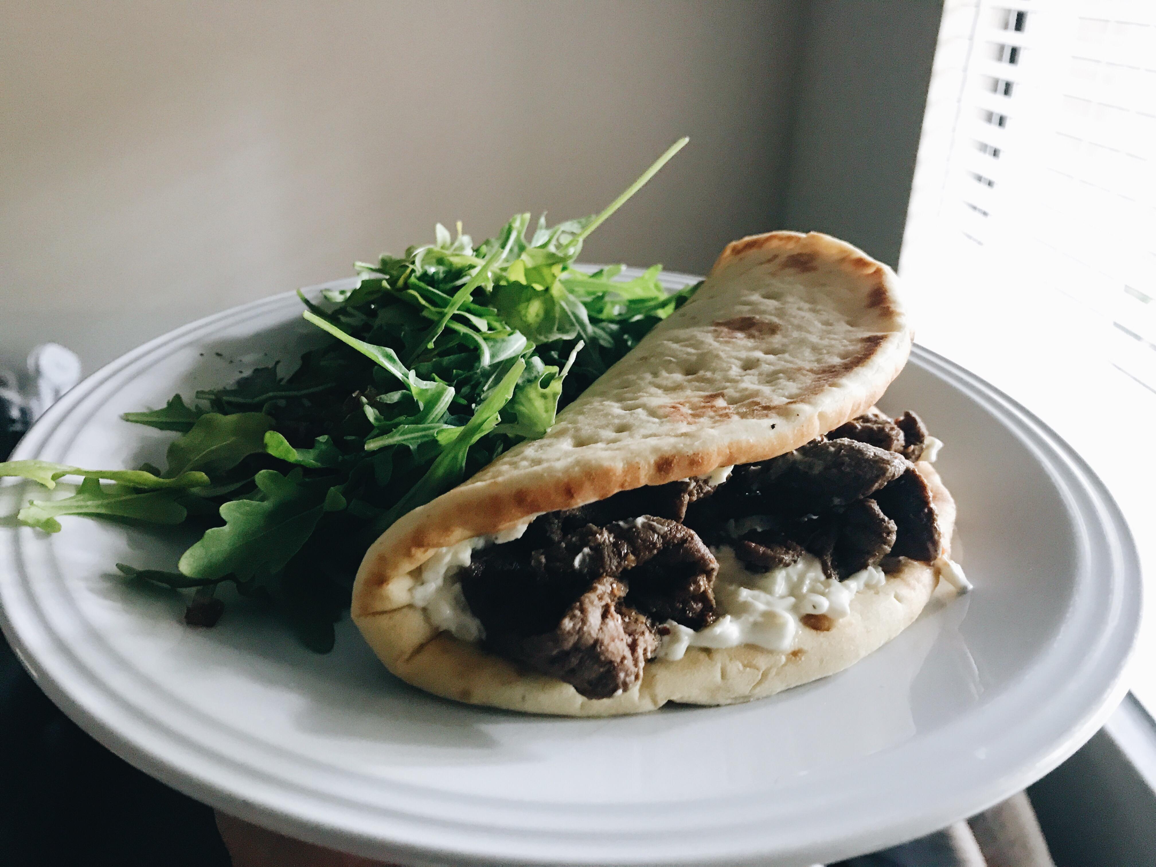 Spiced Beef Pitas & Garlic Labneh