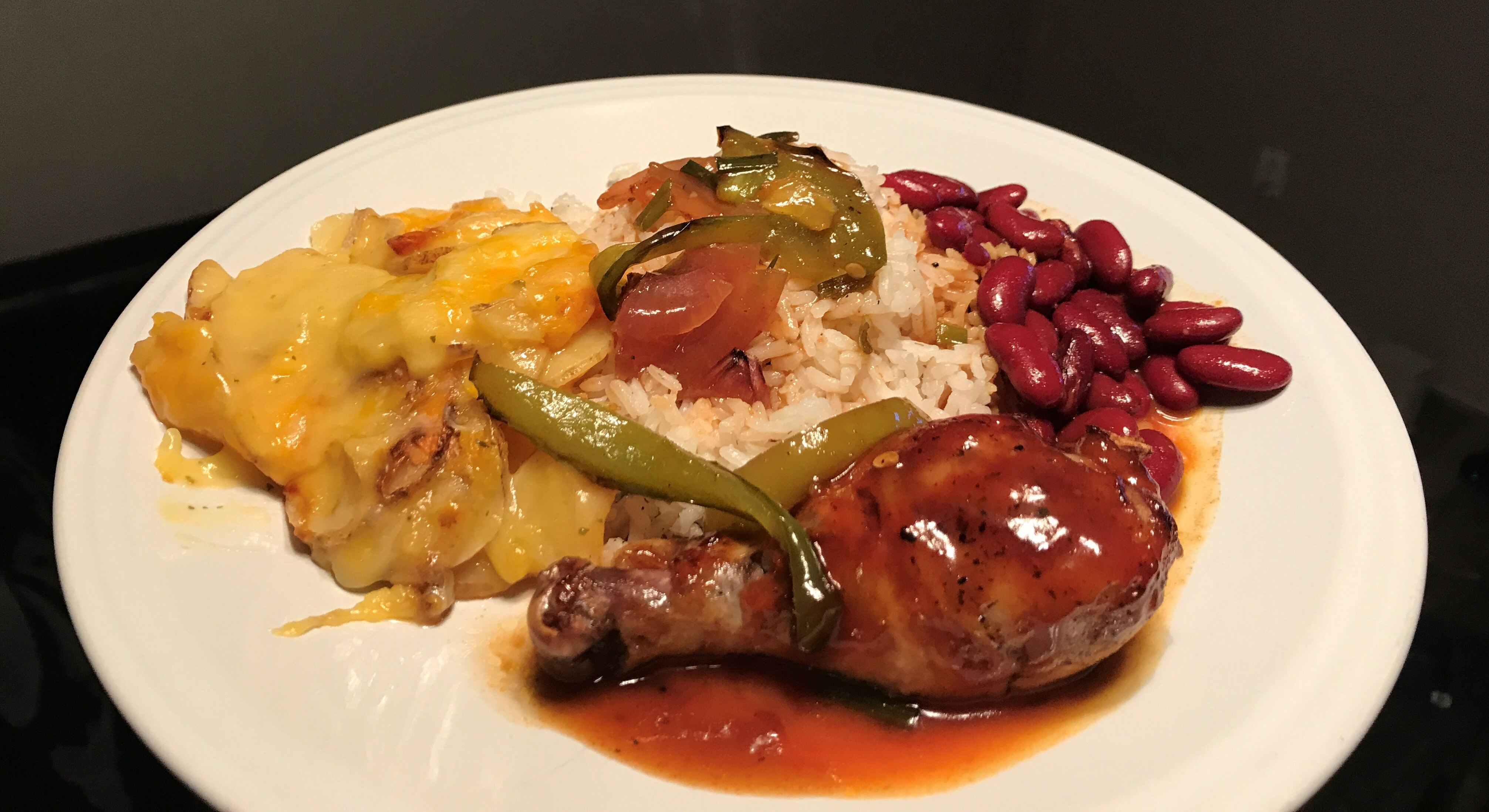 BBQ Chicken with Scalloped Potatoes, Rice & Beans