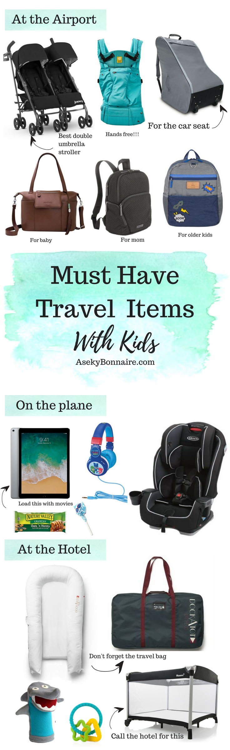 Must have travel items with three kids